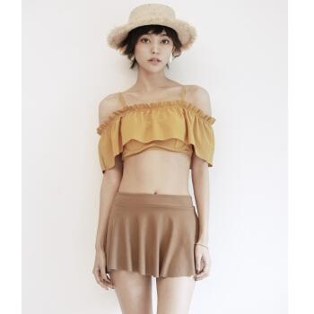 キャラメル色の秋ビキン小胸寄せバースト温泉スカート式ビキニ3点セクト水着L猫色