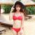コリア钢托せせバーストサイズの胸レディックブラックビキニデリーの水着维多红色M
