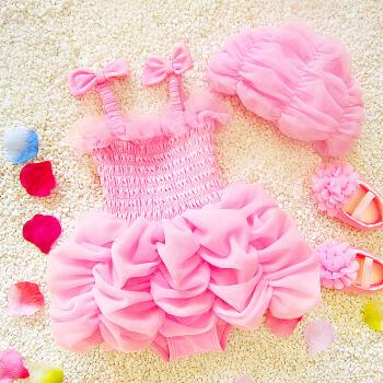 レイディスっ娘が水を着ている姫ワンピススカート式赤ちゃん舞台ウォーミングアップショーの衣装かわぃ水着ピンク水着+水泳帽120(身長115-125 cm