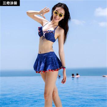 SANQI着水ディティース小胸寄せバイススチールトールスカート式ビキニビキニセクシー温泉水着画像色XL