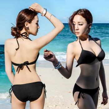 新商品はビキニセクシーの3点式水着水着水着のレディ上下3点式セクシー黒い三角ビキニ钢托寄せブラックMです。